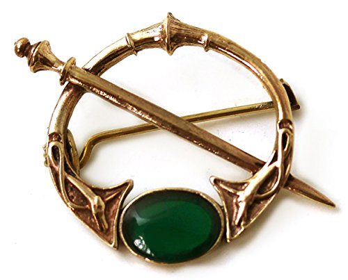 Bronze Green Agate Celtic Knot Tara Brooch and Pins Norse Vintage Thailand Made Jewelry (Brooch)