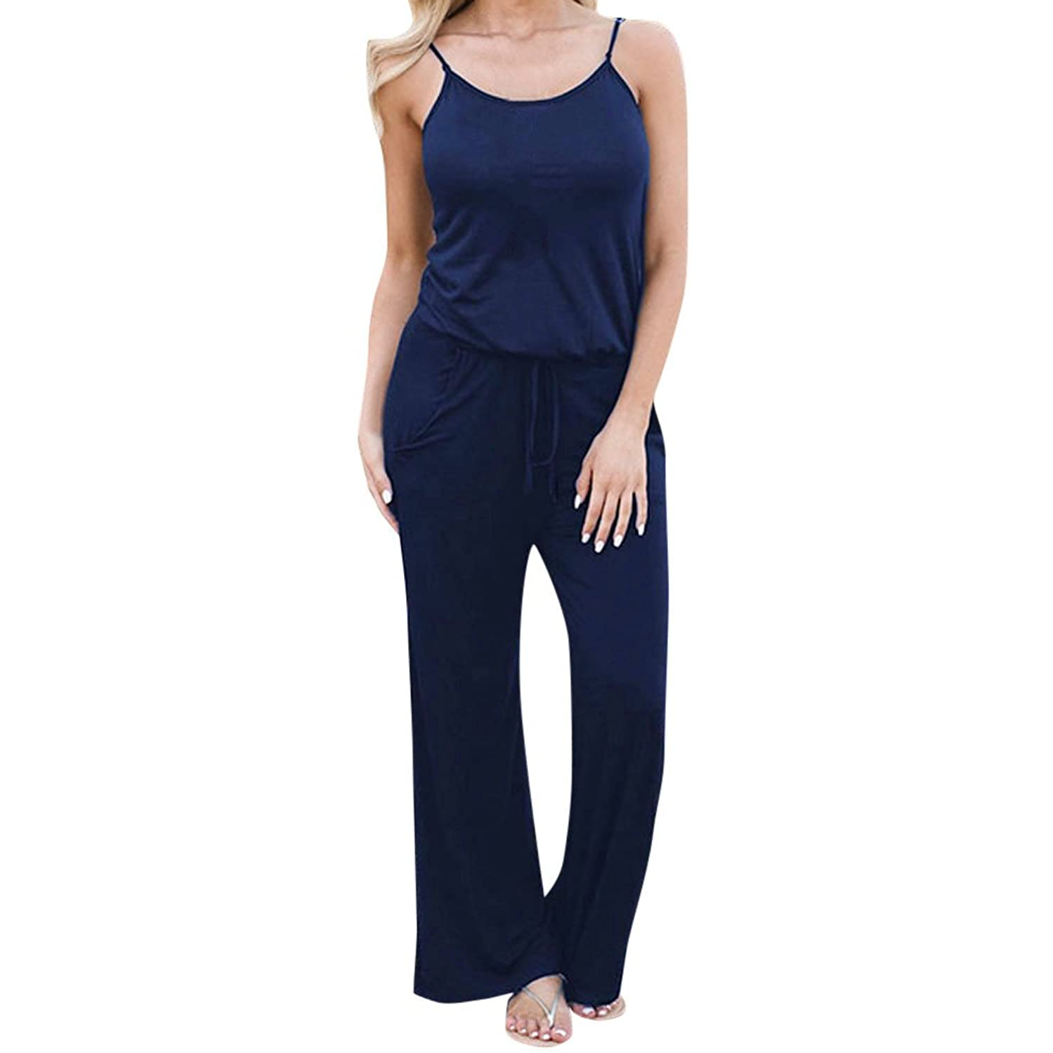 ???Watere??? Women's Sexy Deep V Neck Short Sleeve Wrap Drawstring Waist Jumpsuit Romper with Pockets