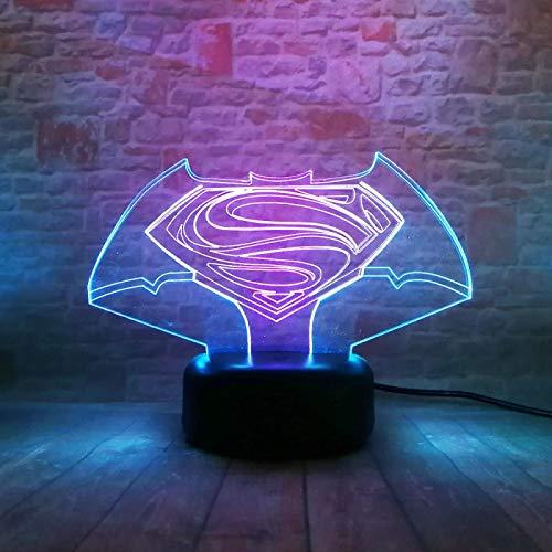 WisdomMi lámpara de mesita de noche moderna, 3D 16 colores - de reloj dorada - altavoz Bluetooth negra - Logotipo De Superman De Película - Lámpara óptico Illusions Luz Nocturna Cambio de Botón Táctil