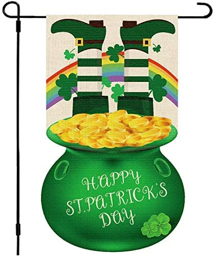 Whaline St Patrick s Day Garden Flag 12 8x18 8 Green Gold Coin Pot Yard Flag Double Sided Irish product image