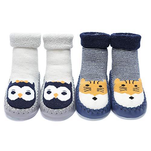 Adorel Chaussons Chaussettes Anti-dérapantes Bébé Lot de 2 Animal 21-22 (Taille Fabricant: 14)