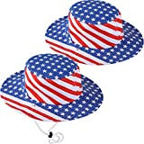 Geyoga 2 Pieces Patriotic Hat American Flag Hat Stars and Stripes Caps for 4th of July Decoration