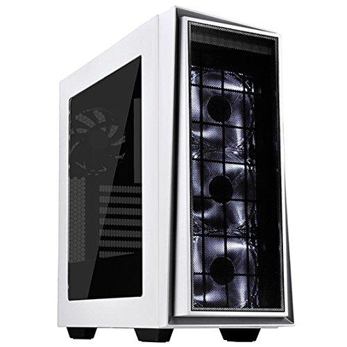 SilverStone SST-RL06WS-PRO - Carcasa de ordenador para juego Red Line Midi Torre ATX, Rendimiento silencioso con alto flujo de aire, blanco con embellecedor plateado