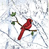 Bird - Cardinal Bird Perched on Branch - Stained Glass Style See-Through Vinyl Window Decal - Yadda-Yadda Design Co. (Variations Available) (MED 5.5'w x 6'h)