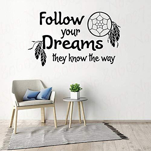 Citas inspiradoras pegatinas de pared Sigue tus sueños atrapasueños para sala de estar dormitorio carta extraíble decoración del hogar A4 80x48cm