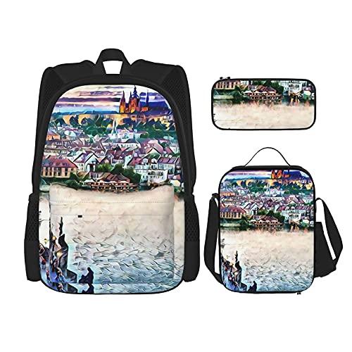 Praga, República Checa mochila escolar 3 piezas, bolsa escolar + estuche + bolsa de almuerzo combinación 3D impresión, lona viaje camping juventud mochila