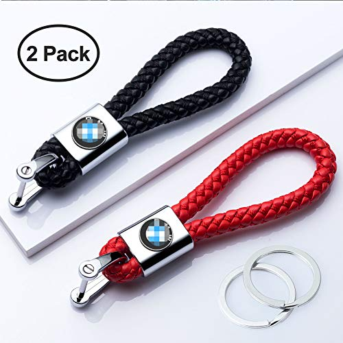 HEY KAULOR 2Pack Genuine Leather Car Logo Keychain Suit for BMW 1 3 5 6 Series X5 X6 Z4 X1 X3 X7 7 Series, M Key Chain Keyring Family Present for Man and Woman,Black and Red