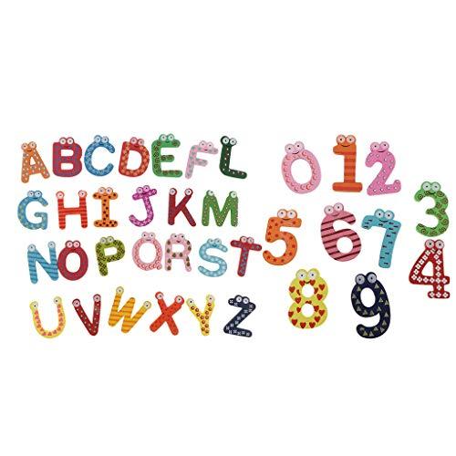 Sharplace 2 Juegos de Letras Magnéticas de Madera para Nevera, Alfabeto, Educación, Juguete para Niños