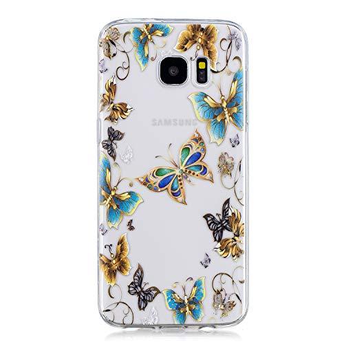 Herbests Funda para Galaxy S7 Edge Móvil, Galaxy S7 Edge Carcasa di Silicona Elegante Lindo Colorido Dibujos Pintado TPU Silicona Protector Funda Ultra Slim Crystal Clear Suave Móvil Case
