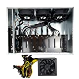 Mining Rig System for 8 GPU ETH Ethereum Miner Rig Miner Bitcoin1800W PSU, 55MM Slots Distance Motherboard,SSD,RAM,Case with Cooling Fans(No GPU) Windows 10