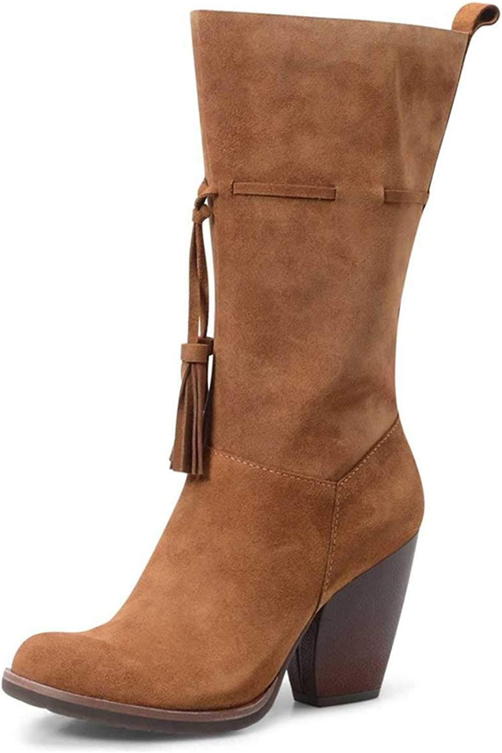 NJ Women Round Toe Chunky Block Heel Knee High Riding Boots Wide Calf Side Zipper with Tassels Comfy Suede Winter shoes