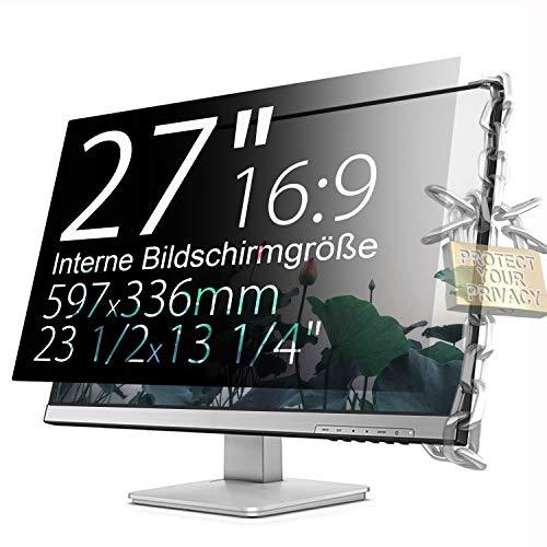 Xianan Schutz der Privatsphäre - 27 zoll 16:9 Seitenverhältnis Blickschutzfilter Blickschutzfolie Bildschirmschutz for Widescreen Computer Monitor
