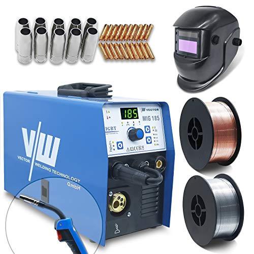 Mig Mag Schweissgerät - Fülldraht Schweißgerät - Schutzgasschweißgerät mit 185 Ampere & Elektrodenschweißfunktion mit 160 Amp | Auto Drahtvorschub - 2&4 Takt - Inverter - Set von Vector Welding
