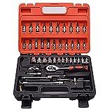 FMONH Juego de 46 llaves de carraca de 1/4 'Drive Car Repair Tool Kits Llave – CR-V Juego de herramientas mecánicas para bricolaje, reparación de automóviles