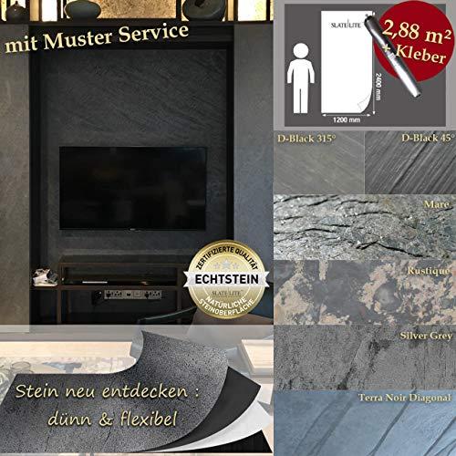 Wandverkleidung Schiefer Verblender Naturstein Steinwand - 2,88 m² KOMPLETT SET Rustique Musterstück - DIN A4