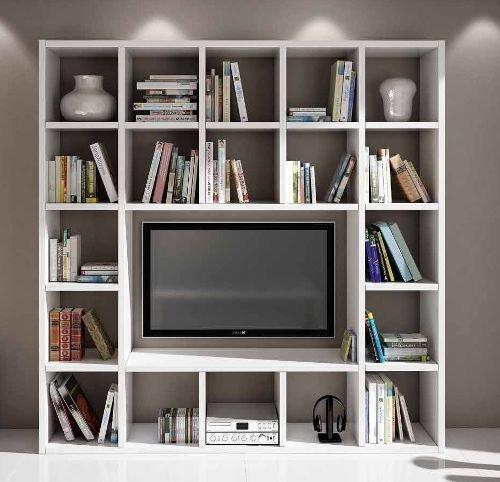 Legno&Design Meuble mural avec étagère pour TV, bibliothèque, séjour, blanc frêne 20 éléments