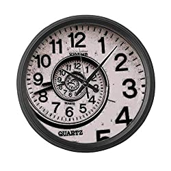 47BuyZHJX Spiral Face - Large 10 in Round Wall Clock, Unique Decorative Clock