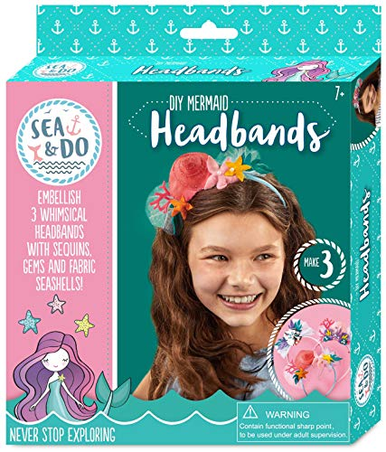 Sea & Do Bright Stripes DIY Mermaid Headbands Tween Fashion Accessories Kit - DIY Hair Accessories for Girls Ages 7 to 12