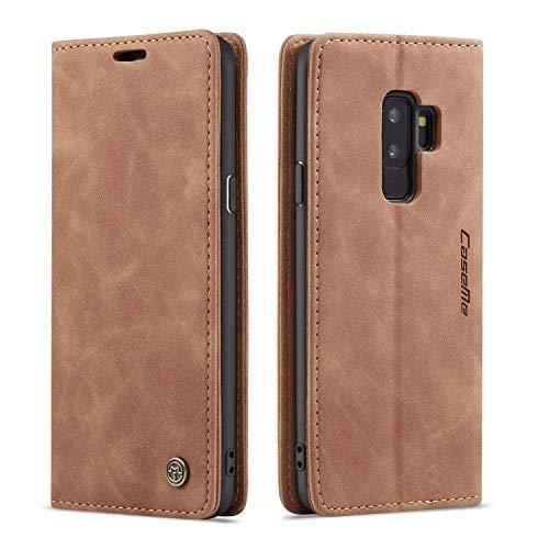 QLTYPRI Hülle für Samsung Galaxy S9 Plus, Vintage Dünne Handyhülle mit Kartenfach Geld Slot Ständer PU Ledertasche TPU Bumper Flip Schutzhülle Kompatibel mit Samsung Galaxy S9 Plus - Braun