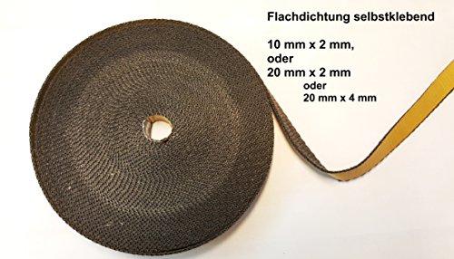 Premium Dichtband selbstklebend schwarz 10 mm x 2 mm oder 20mm x 2mm oder 20 mm x 4 mm ideal für Scheibendichtungen von Kaminöfen und Smokern bis 550°
