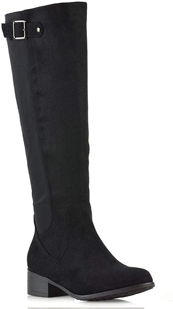specialty shop Womens Knee High Boots Ladies Flat Low Riding S Elasticated Heel Super popular specialty store
