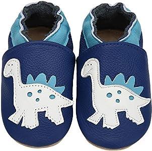 Yavero Primeros Zapatos Bebés Zapatillas de Andar por Casa para Bebés Zapatillas de Cuero Niñas Niños - Cómodas Blanditas y Ligeras, Dinosaurio Azul, 18-24 Meses