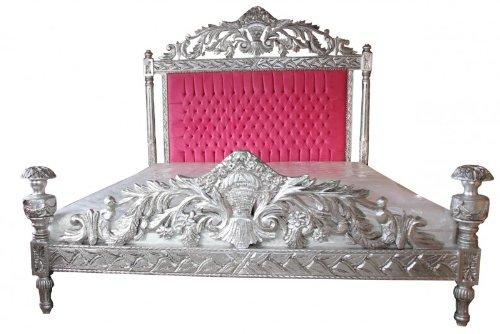 Casa Padrino Luxus Barock Bett Antik Rosa/Silber - Luxus Bett - Antik Look