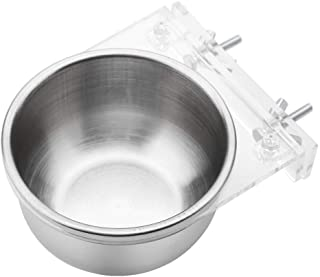 HEEPDD Stainless Steel Hanging Bowl Bird Food Feeding Dish Water Seed Feeder Bird Cage Accessories with Screw Attachment for Macaw African Greys Parakeet Cockatoo Cockatiel Conure Lovebird