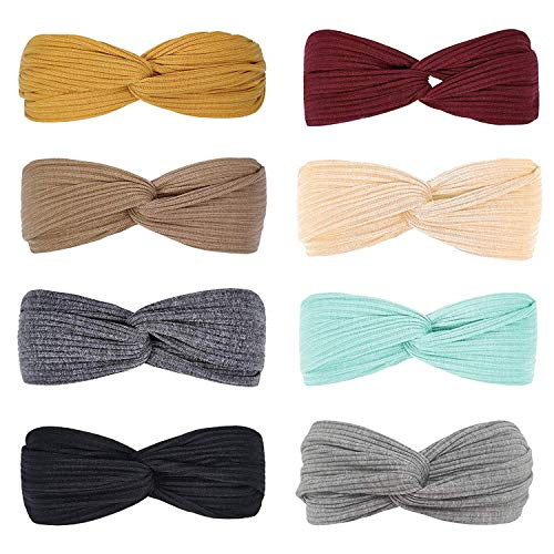 DRESHOW 8 Piezas Diadema para Mujer Boho Diademas Elástico Banda para el Cabello Turbante Banda Accesorio Pelo para Mujer Niñas