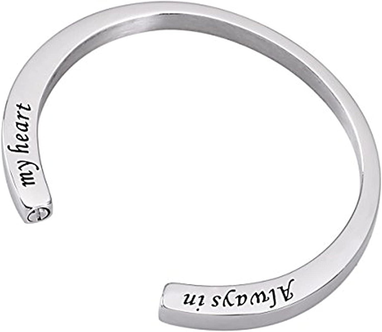 Cremation Urn Bracelet Engraved Always in My Heart Memorial Stai