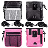 STMK 2 Pack Dog Treat Pouch, Dog Training Treat Pouch with Waist Shoulder Strap, 3 Ways to Wear, Easily Carries Toys, Kibble, Treats for Dog Walking, Dog Training, Puppy Training (Black and Pink)