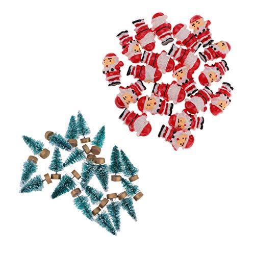 perfeclan 20 árboles de Pino en Miniatura Y 20 Pequeños Papá Noel para Navidad, Casa de Muñecas, Regalos para Niños