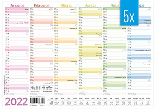5 x premium tafelkalender 2022 A4 dwars [Rainbow] – jaarplanner, wandkalender, jaarkalender incl. klein overzicht…