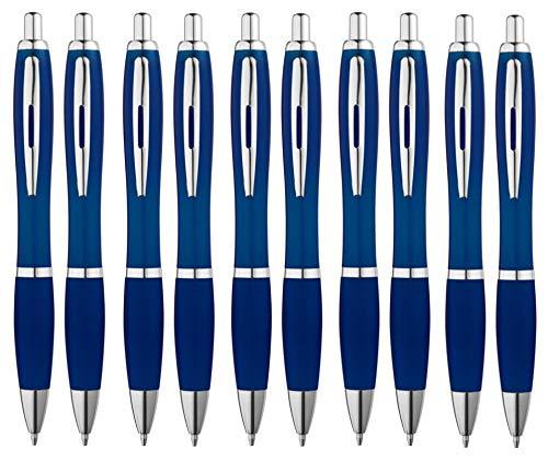 Libetui 10-er Pack Kugelschreiber rutschfeste Griffzone Großraumine Blau Gehäuse in Farbe Dunkelblau/Blau