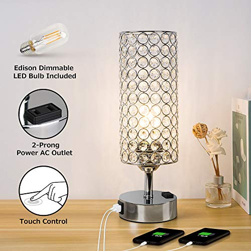 Focondot 3 Way Dimmable Touch Control Crystal Table Lamps with 7W Edison LED Bulb, Elegant Nightstand Lamps with 2 USB Ports&1 AC Outlet, Silver USB Lamp for Bedroom, Living Room, Guest Room