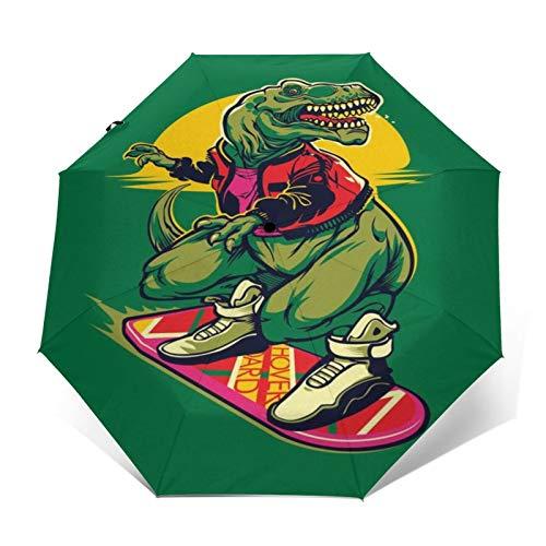 TISAGUER Paraguas automático de Apertura/Cierre,Tyrannosaurus Rex sobre un Fondo Verde con una patineta en Estilo Hip Hop,Paraguas pequeño Plegable a Prueba de Viento