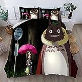 Proxiceen Ropa de cama Anime Mi vecino Totoro funda de edredón/funda de almohada Mi vecino Totoro estampado funda de edredón / funda de almohada (estilo 1,135 x 200 cm + 50 x 75 cm x2)