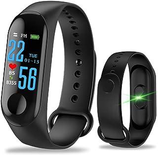 Aubess Pulsera Inteligente Fitness Tracker, M3, Pantalla táctil de Color, Impermeable, IP67, GPS, Monitor de sueño, frecuencia cardíaca, presión Arterial, para Mujeres y Hombres