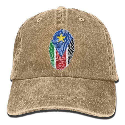 Ahdyr Gorra de béisbol Unisex Sombrero de Mezclilla Bandera de Sudán del Sur Huella Digital Ajustable Snapback Hiphop Cap-Natural