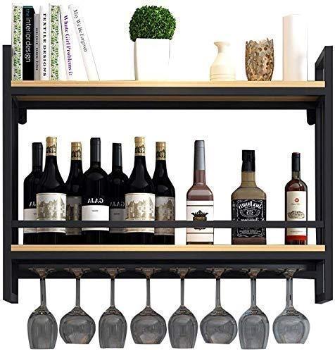 JYDQM Estante de Exhibición de Vino, Muebles de Bar para Amantes Del Vino; Estante de Vino con Soporte de Vidrio/Estantes de Vino Montado en la Pared Metal de Madera/Soporte de Copa de Vino Colga