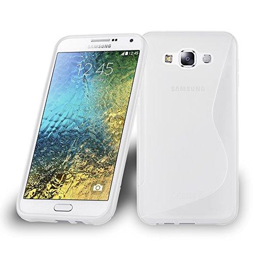 Preisvergleich Produktbild Cadorabo Hülle für Samsung Galaxy E7 2015 (5) - Hülle in HALB TRANSPARENT Handyhülle aus flexiblem TPU Silikon im S-Line Design - Silikonhülle Schutzhülle Soft Back Cover Case Bumper