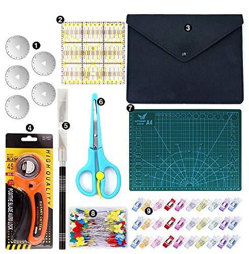 Wuudi Juego de 111 alfombrillas de corte A4, alfombrilla de corte de 45 mm, cortador rotativo, hoja de repuesto, regla, pinzas para patchwork, para papel, tela, cuero