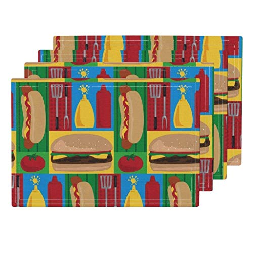 Cookout Designs von Lisa K Grill Barbecue Hot Dog Hamburger Utensilien Ketchup Cookout Cookout von Lisa Kubenez Tischsets 4er-Set