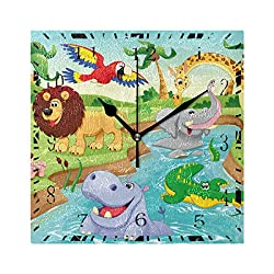 Wall Clock Cartoon Zoo Animal Hippopotamus Square Decorative Clock for Living Room Bedroom Kitchen Home Decor Battery Operated Art