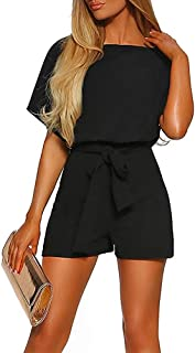 Women Summer Shorts Jumpsuits -Juniors Casual Loose Pants Rompers Dressy Top Belted Playsuits