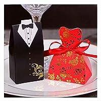 XiZiMi 結婚式の機会 50ペア 新郎新婦ギフトギフトバッグ ウェディングキャンディーボックス Type 4