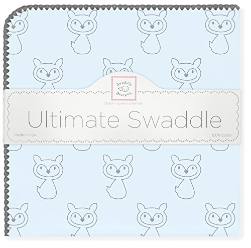 SwaddleDesigns Ultimate Swaddle, X-Large Receiving Blanket, Made in USA, Premium Cotton Flannel, Gray Fox on Pastel Blue (Mom's Choice Award Winner)