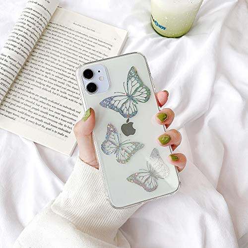 Poowear Clear Glitter iPhone 11 Case Thin Butterfly Slim Cute Crystal Bling Women Girls Butterfly Plastic Hard Back Soft TPU Bumper Protective Cover for Apple iPhone 11 6.1 inch