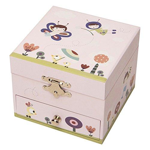 Trousselier - Elfe im Garten - Musikschmuckdose - Spieluhr - Ideales Geschenk für junge Mädchen - Musik Klaviersonate von Mozart - Farbe grün