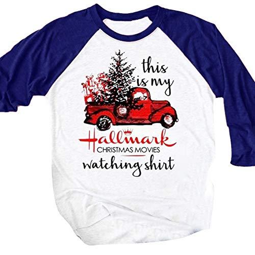 E-House Kerstmis leveringen kerstboom auto brief afdrukken lange mouwen ronde hals T-shirt casual vrouwen top - zwart L Weiß + Blaul